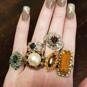 Vintage Mid Century Costume Ring Bundle
